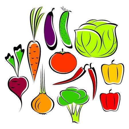 produits alimentaires: Les différents légumes dessinés sur un fond blanc. Les légumes sont unis dans l'ensemble.