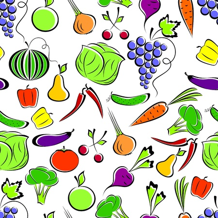 Vegetables and fruit on a white background form a seamless composition.
