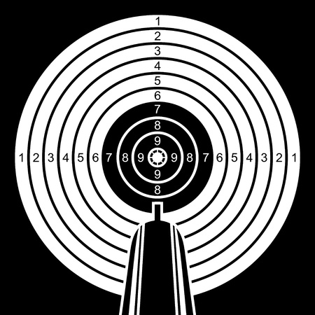 rifle: Rifle aims in a target. Black and white target on a black background.