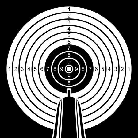 doelstelling: Rifle wil in een doel. Zwart-wit doel op een zwarte achtergrond. Stock Illustratie