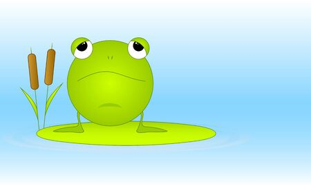 The green ridiculous frog sits on green sheet. Vector