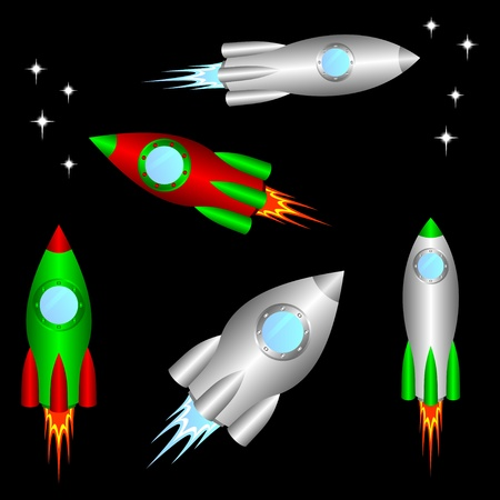 Some different space rockets on a black background.