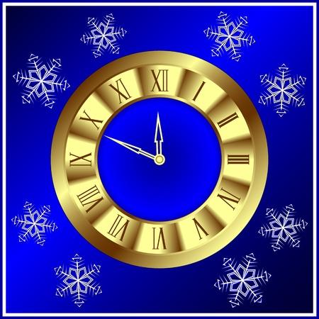 numeros romanos: Hora de oro sobre un fondo azul oscuro. Una tarjeta de Navidad.