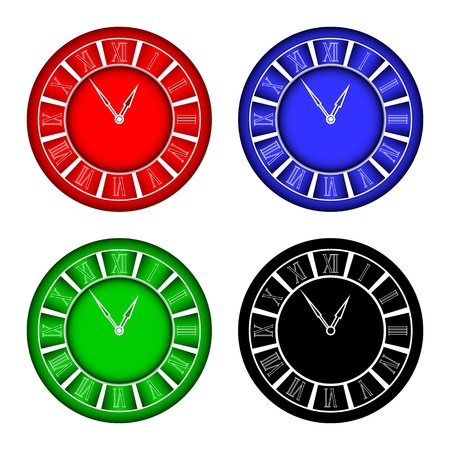quarters: Hours of different color on a white background.