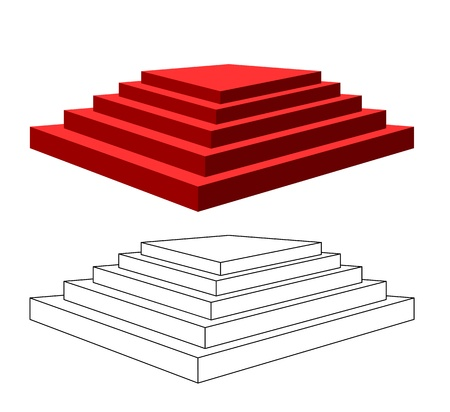 executed: Two isolated pyramids with steps on a white background. One pyramid is executed by a contour, the second red color.