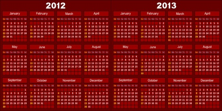 Template of a calendar for 2012 and 2013. A template of dark red color. Vector