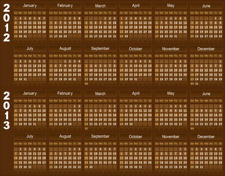 Template of a calendar for 2012 and 2013. A template of chocolate color. Vector