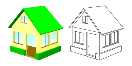 distinct: The small house with a green roof and a house contour. The isolated objects on a white background. Illustration