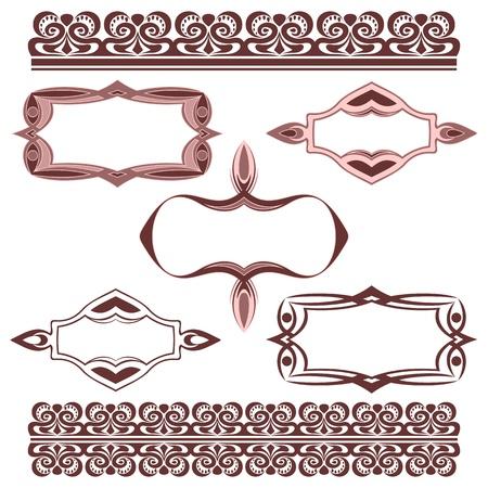 friso: El conjunto completo de elementos decorativos en un fondo blanco.
