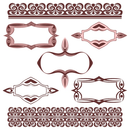 The complete set of decorative elements on a white background.