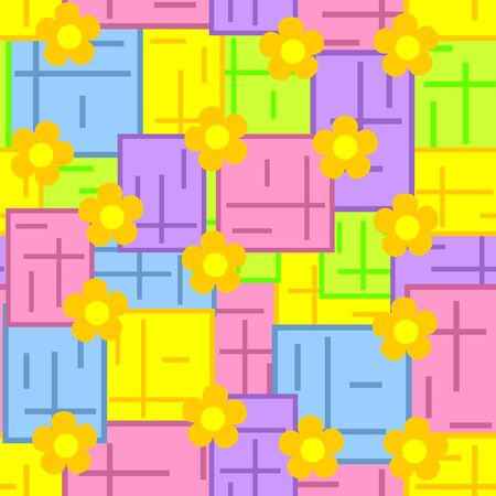 Multicolored seamless wallpaper. A background from figures of different color and yellow flowers. Vector