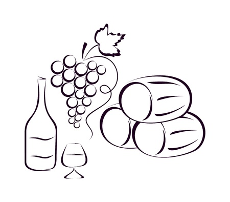 clusters: Butts, grapes, a bottle of wine and a glass on a white background. Subjects form a composition.