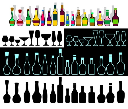 bar ware: Various bottles with alcohol and glasses are collected in the set.