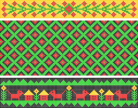 fabric art: Set of ethnic patterns. Patterns are similar to an ancient Russian ornament.
