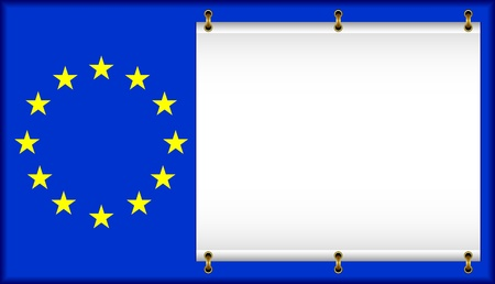 European Union flag. On a flag the banner is located.