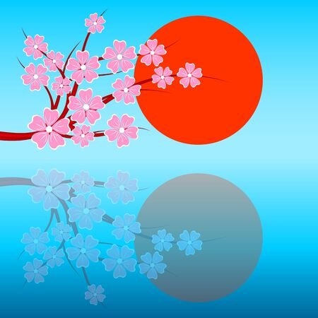 Blossoming sakura against a morning dawn. Vector