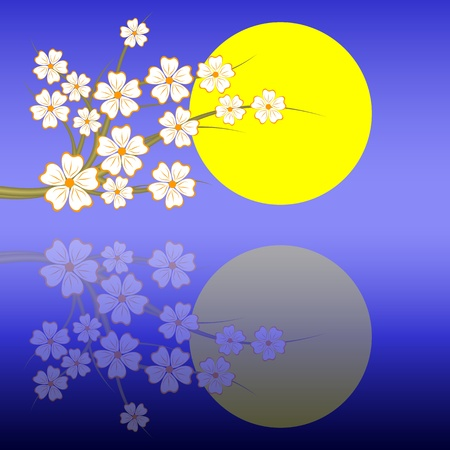 Blossoming oriental cherry against the moon in the night sky. Vector