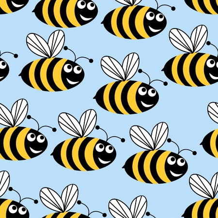 Seamless background in the form of flying bees on a blue background. Vector