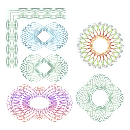 Set of different guilloche rosette on a white background. Ilustração