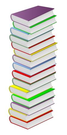 folio: Pile of multicolored books on a white background. Illustration