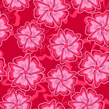 crimson: Abstract crimson flowers form a seamless composition.