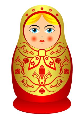 Russian souvenir nested doll. The isolated object on a white background.