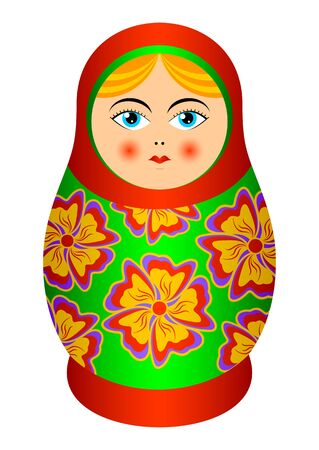 The isolated nested doll on a white background. Russian souvenir.