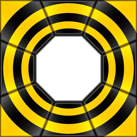 diameter: Lo sfondo astratto � costituito da lastre nere e gialle. Al centro un ottagono bianco.