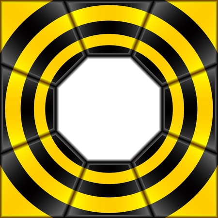 strip structure: The abstract background consists of black and yellow plates. In the center a white octagon.