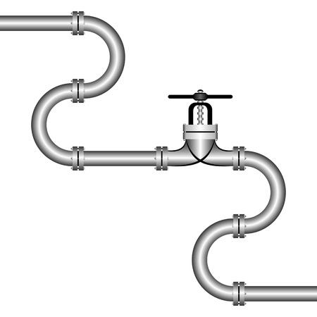caños de agua: La tubería de zig-zag sobre un fondo blanco. En el centro hay una llave de paso.