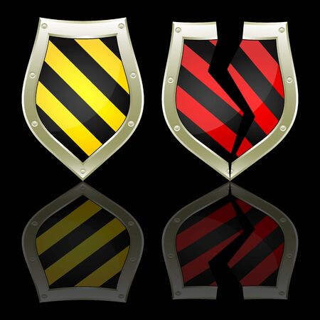breakage: Two shields on a black background. One shield has black and yellow strips. The second shield has black and red strips and it is split. Illustration