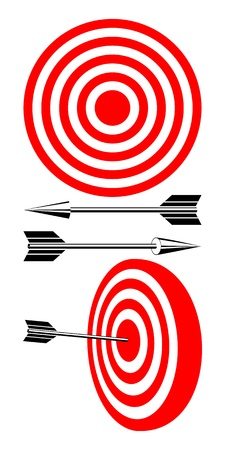 The isolated objects on a white background. A red-white target and black arrows. Vector