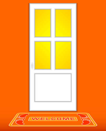 The closed white door on an orange background. Before a door the rug with an inscription 'Welcome' lies. Vector