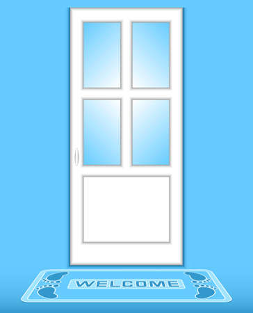The closed white door on a blue background. Before a door the rug with an inscription