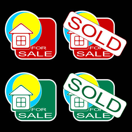 selling house: Set of icons for the house on sale. Red and green icons on a black background.