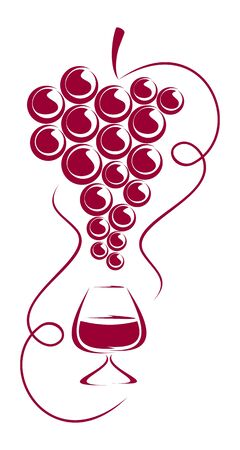Grapes and wine glass form a composition. The composition is located on a white background.