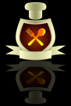 plug hat: Kitchen symbol. A cap of the cook, shield and a banner on a black background. On a shield the plug and a spoon are represented.