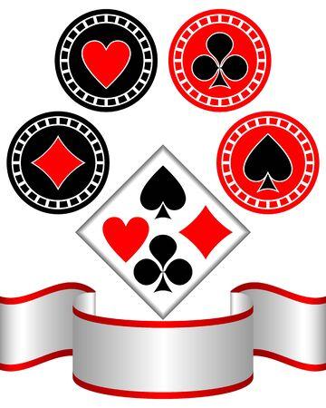 gambling chip: Los s�mbolos aislados de jugar a las cartas sobre un fondo blanco