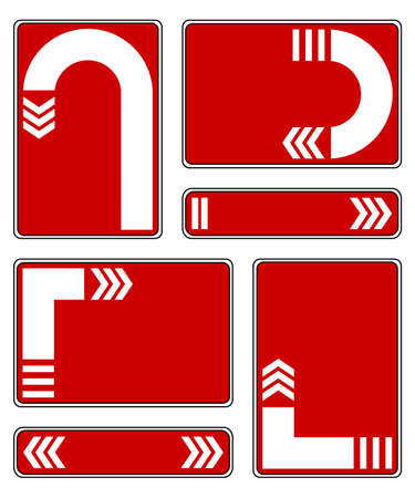 Plates with arrows on a white background  White arrows on a red background  EPS-8  Vector