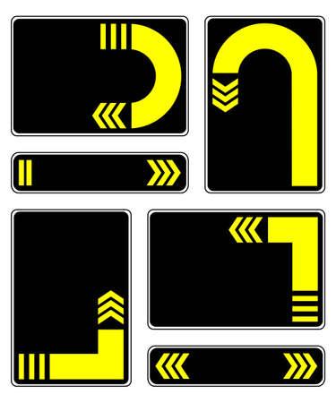 reverse: Plates yellow arrows on a white background  Yellow arrows on a black background  EPS-8