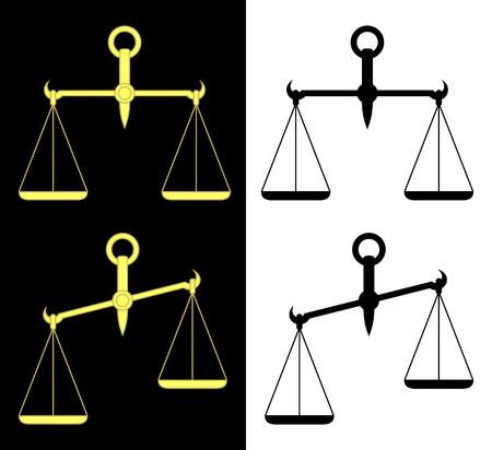 balanza justicia: Ajuste de las escalas aisladas. Escamas amarillas sobre un fondo negro. Escamas negras sobre un fondo blanco.