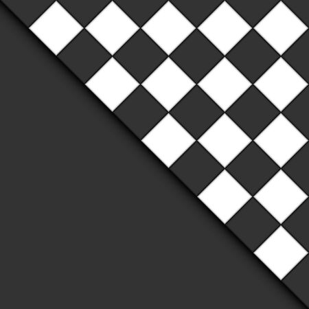 Black and white tiles form an abstract background.