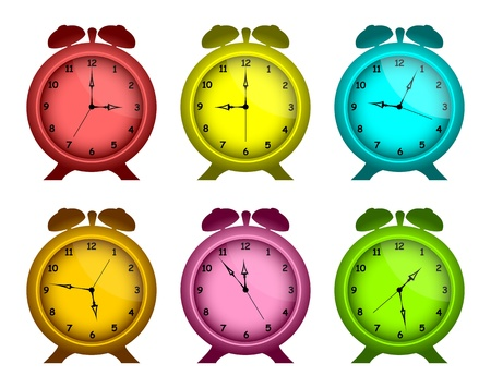quarters: Set of multicolored alarm clocks on a white background. The isolated objects. Illustration