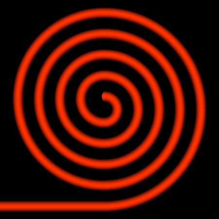 whirlwind: Red spiral on a black background.