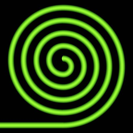 whirlwind: Green spiral on a black background. Illustration