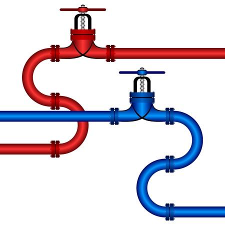 loodgieterswerk: Twee pijpleidingen op een witte achtergrond. Een leiding van rode kleur. Tweede pijplijn van donkerblauwe kleur.