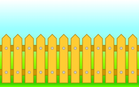 Wooden fence against the blue sky and a green grass. Vector