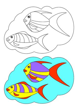 The picture for coloring. Contour of fish and painted fish on a white background. Vector