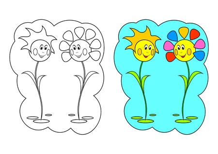 cartoons outline: The picture for coloring. Contour of flowers and painted flowers on a white background.
