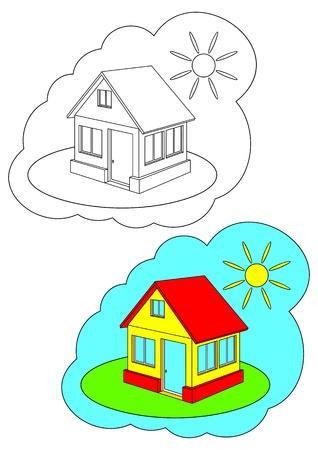 Das Bild zum Ausmalen. Contour des Hauses und malte das Haus auf einem weißen Hintergrund
